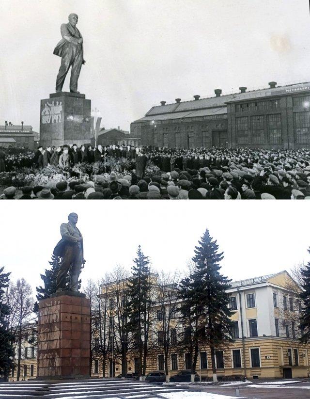 Открытие памятника В.И.Ленину на Кировском заводе. 5.11.1957 г./ 2021 г.