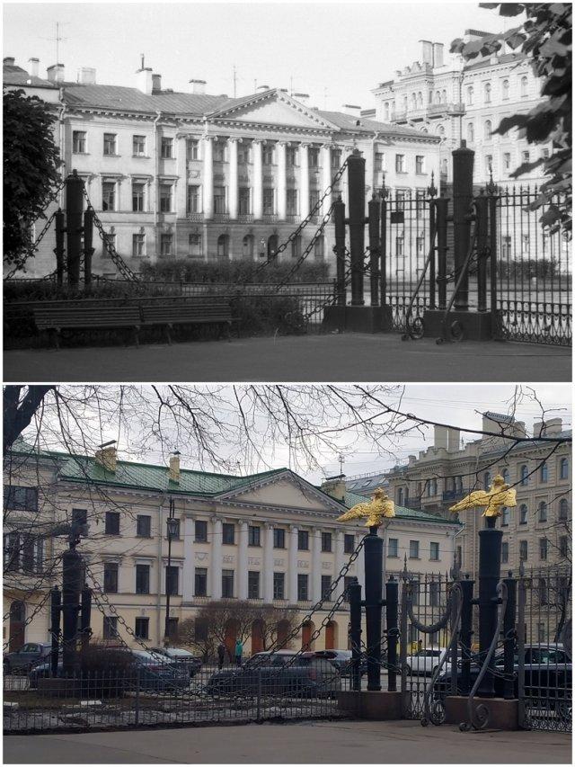 Площадь Радищева / Преображенская площадь1969 и 2021 год