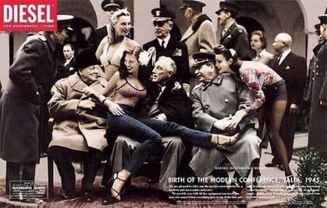 Лидеры Большой тройки Черчилль, Рузвельт и Сталин в рекламе джинсов Diesel. 1997 год.