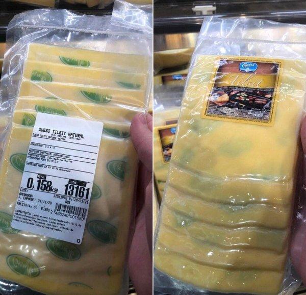 Подложка в упаковке сыра, из-за которой тот кажется плесневелым