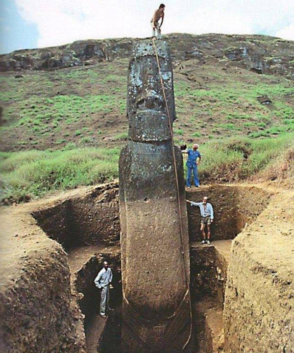 Полная высота статуй с острова Пасхи