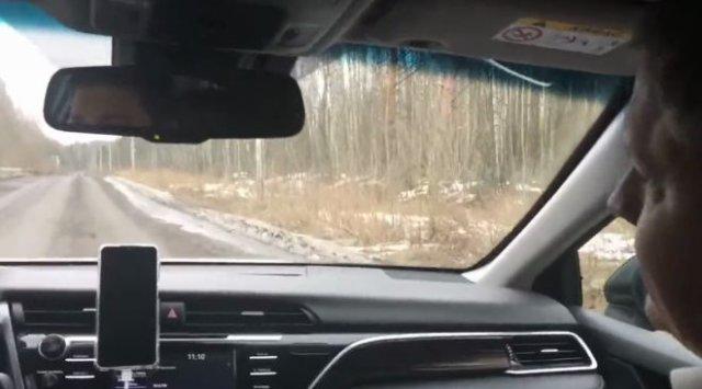 Чиновники из Ленинградской области показали «отличную» дорогу и похвалили сами себя за ее очистку