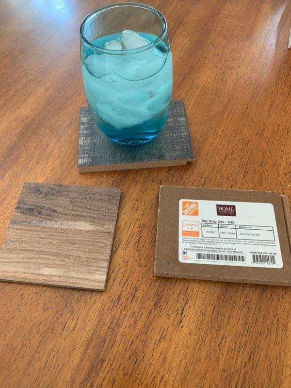 Если жадность не позволяет вам купить подставки под стаканы, воспользуйтесь бесплатными образцами напольных покрытий
