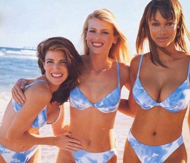 Супермодели Стефани Сеймур, Даниэла Пештова и Тайра Бэнкс, 90-е годы.