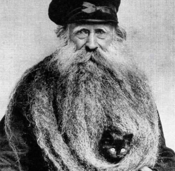 Луи Кулон — мужчина с впечатляющей бородой, в которую легко помещалась кошка