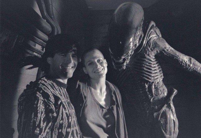 Сигурни Уивер на съемках фильма «Чужой 3», 1991 год