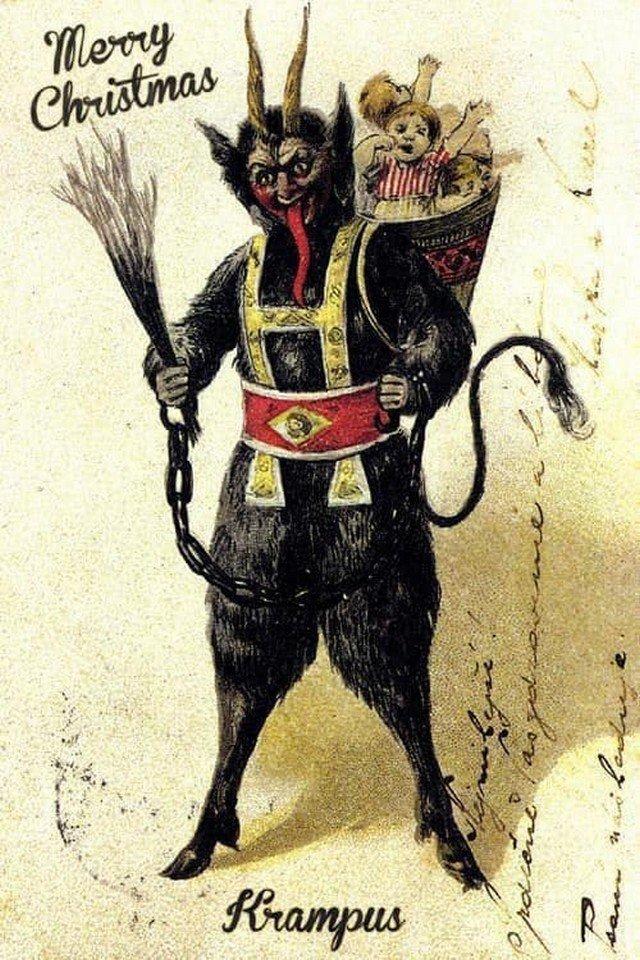 Крампус - антипод Санта Клауса (ловит в мешок детей, которые плохо себя вели). Открытка 1890-х гг.