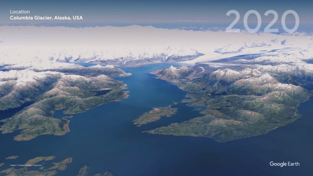 Ледник Колумбия, штат Аляска, США в 2020