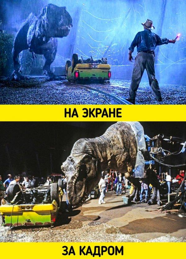 На съемках фильма Стивена Спилберга «Парк юрского периода» (1993) использовался тираннозавр с гидравлическим приводом