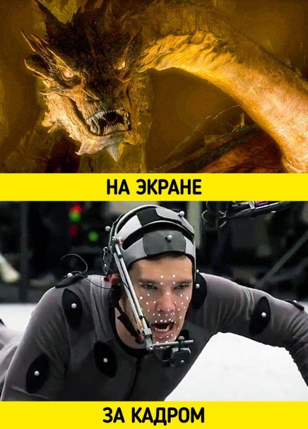 Бенедикт Камбербэтч в образе дракона Смауга на съемках фильма «Хоббит: Пустошь Смауга» (2013)