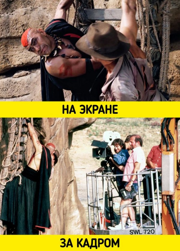 Стивен Спилберг стоит за кинокамерой на съемках фильма «Индиана Джонс и храм судьбы» (1984)