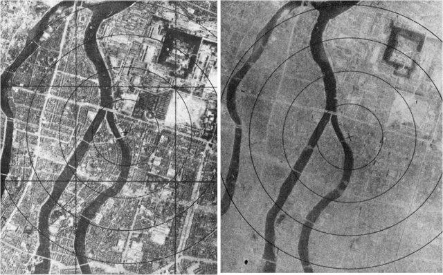Хиросима до и после атомной бомбардировки, 6 августа 1945 год