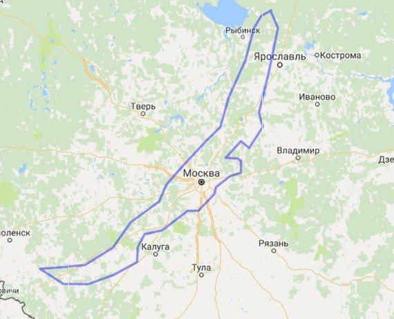 Очертания озера Байкал в сравнении с Москвой
