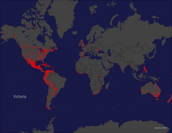 Места на карте мира, в названии которых есть имя Виктория
