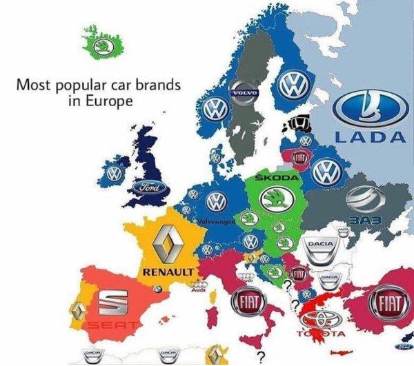 Самые популярные марки машин в разных странах
