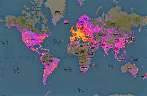 Карта самых фотографируемых мест на планете