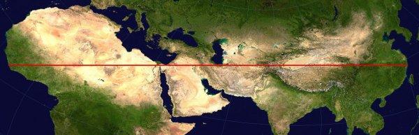 Красная линия — самый длинный прямой маршрут, который не пересекает океаны или крупные водоёмы