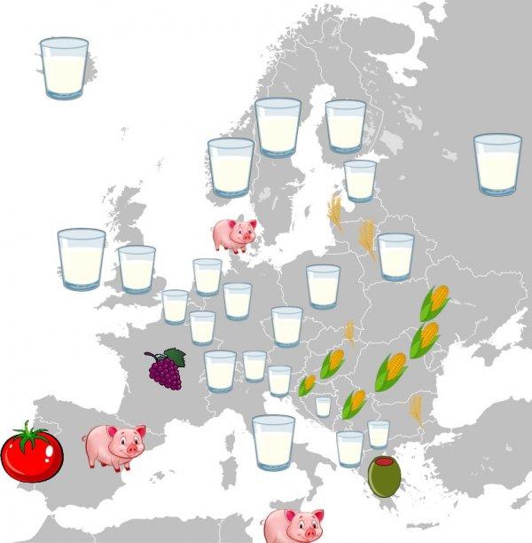 Европейские страны и те продукты сельского хозяйства, которые производятся там в наибольшем объёме