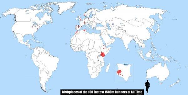Красные точки — это места, где родились 100 самых быстрых бегунов