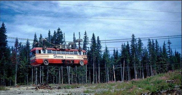 Автобус на канатной дороге. США, 1951 год.
