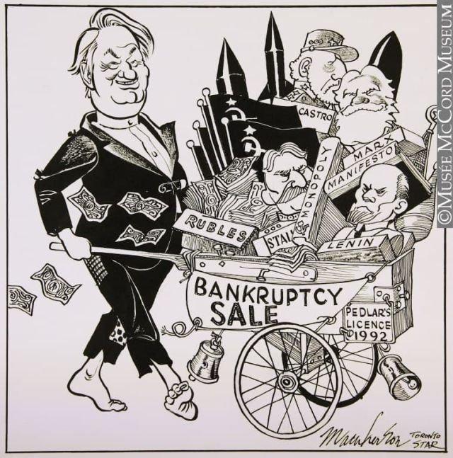 Борис Ельцин и экономические реформы. Художник: Duncan Macpherson. Toronto star. 1992 год.