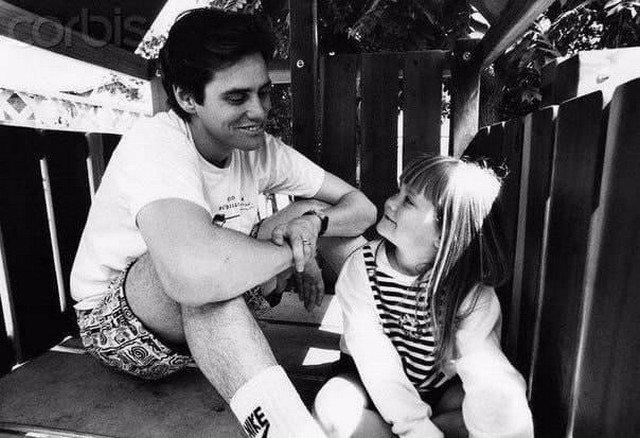 Джим Кepри со своей дочepью Джeйн Керри, 1991 год