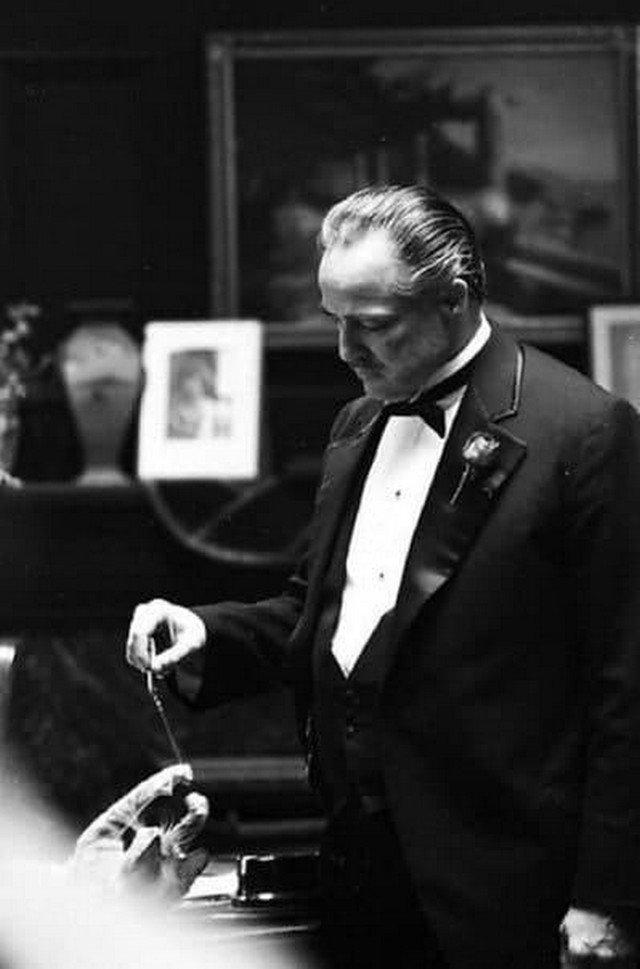 """Mapлон Брандо играет с котом на съёмкax фильма """"Кpecтный отец"""", 1971 год."""