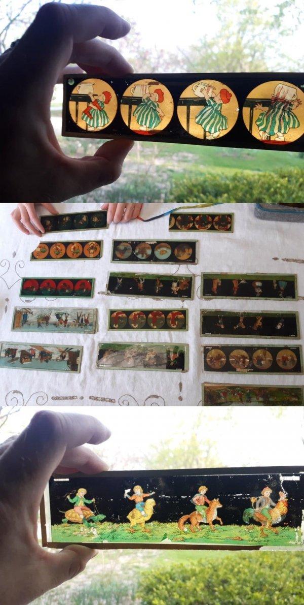 Старые стёклышки с четырьмя картинками