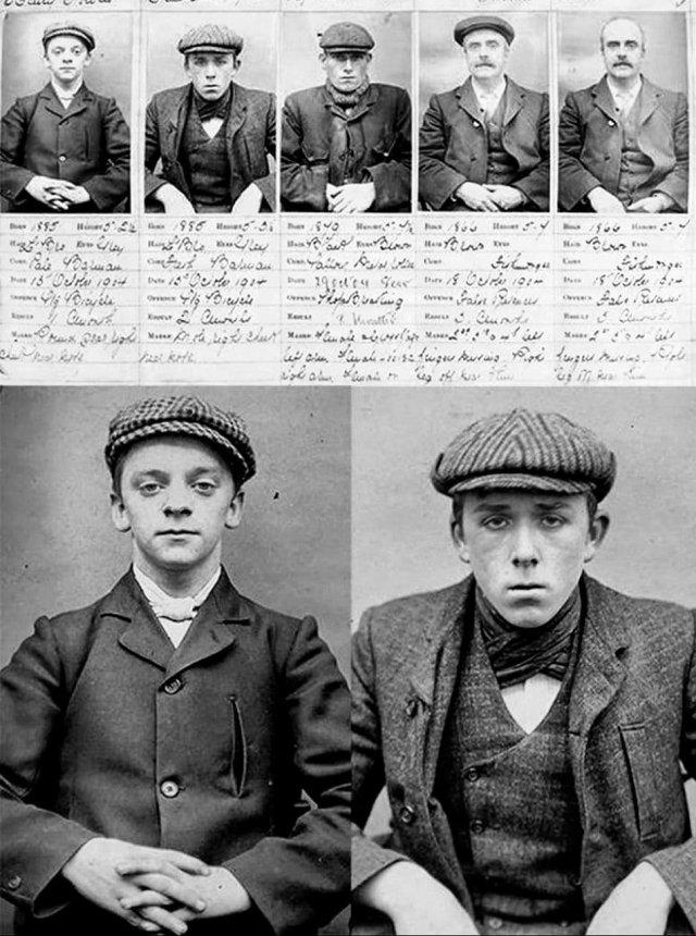 «Острые козырьки» - участники банды, державшей в страхе весь Бирмингем, 1903 год.