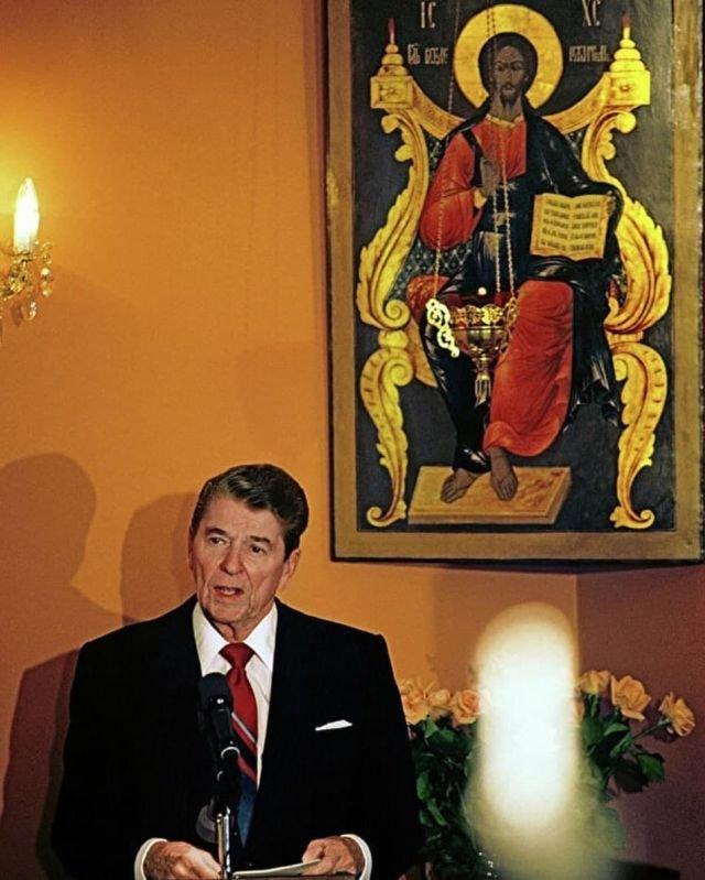 Рональд Рейган в Свято-Даниловом монастыре, Москва, 1988 год.