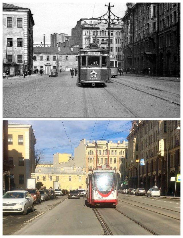 На Звенигородской улице.~1946 и 2021 год.