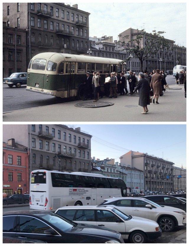 Лиговский проспект у гостиницы «Октябрьская».1965 и 2021 год.