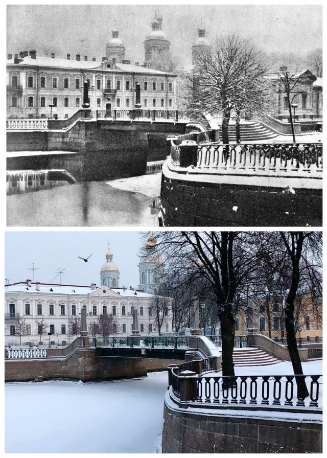 Красногвардейский мост через канал Грибоедова.1970 и 2021 год.