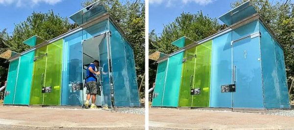 На улицах стоят прозрачные общественные туалеты.