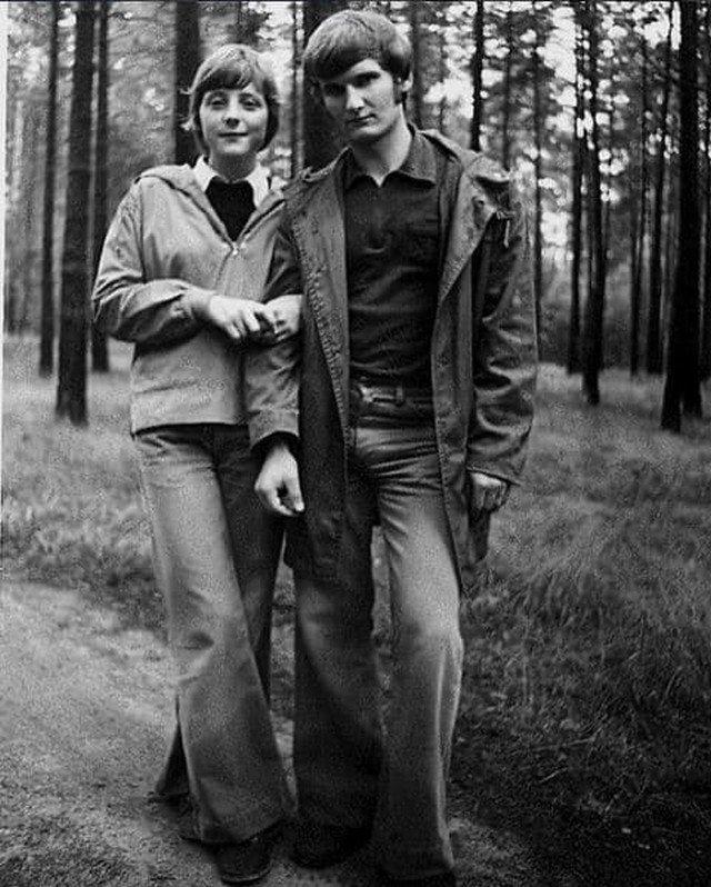 Ангела Меркель со своим первым мужем, 1975 год