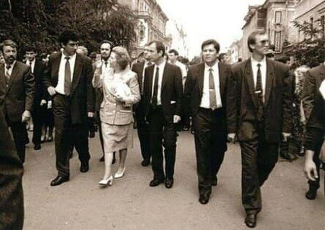 Борис Немцов, Маргарет Тэтчер и Дмитрий Бедняков, Нижний Новгород, Россия, начало 1990-х.