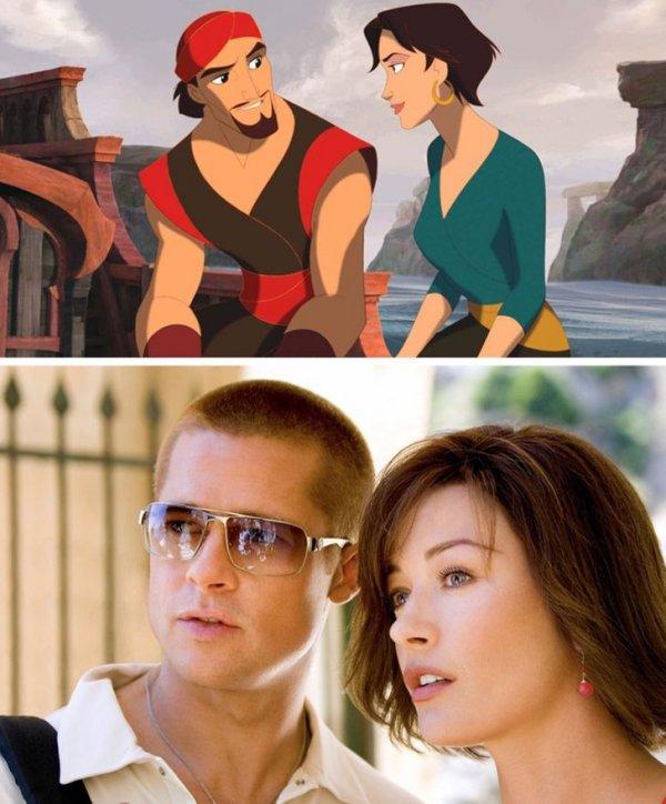 Брэд Питт — Синдбад, а Кэтрин Зета-Джонс — Марина, в мультфильме «Синдбад: Легенда семи морей»