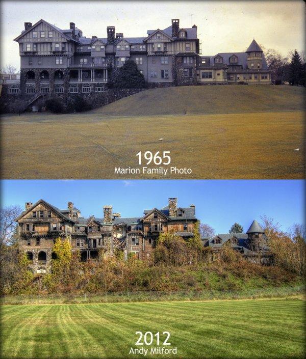 Заброшенный особняк. 1965 и 2012 годы.