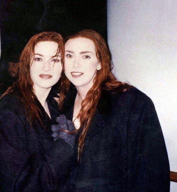 Кейт Уинслет и её двойник на съёмках «Титаника»