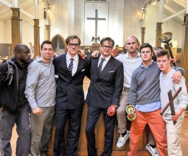 Колин Фёрт и его дублёр в сцене драки в церкви из фильма «Kingsman: Секретная служба»