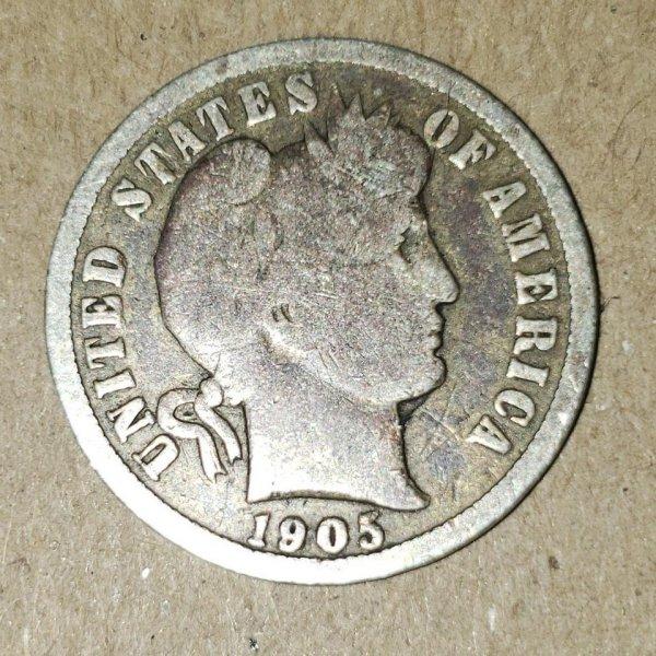 Сегодня я нашёл десять центов 1905 года в кассовом аппарате на работе