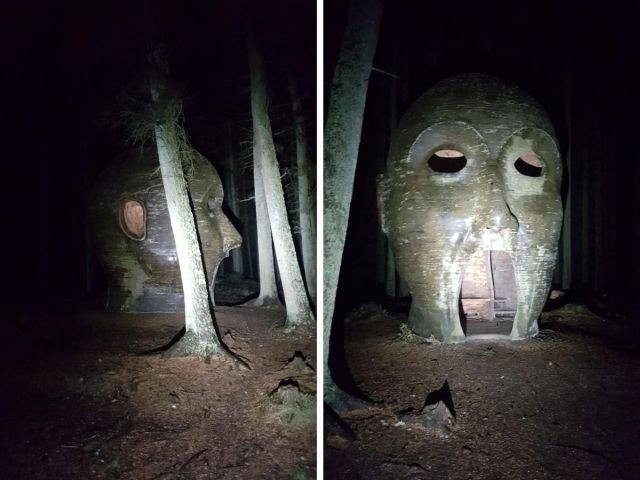 Килдерский лес, Англия. Эта голова выглядит довольно пугающе