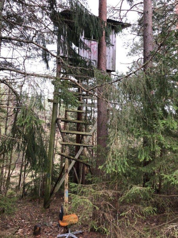 Заброшенная охотничья башня в лесу, Смоланд, Швеция