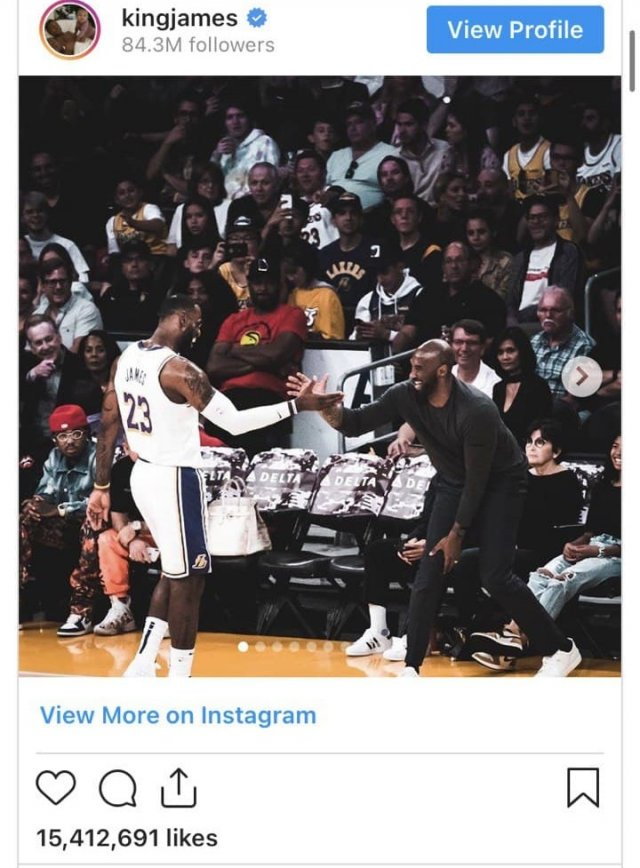 Великий баскетболист Леброн Джеймс через два дня после трагической гибели Коби Брайанта опубликовал фото вместе с другом .
