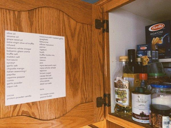 Устала каждый раз вспоминать, что в каком шкафчике лежит, и повесила подробный список