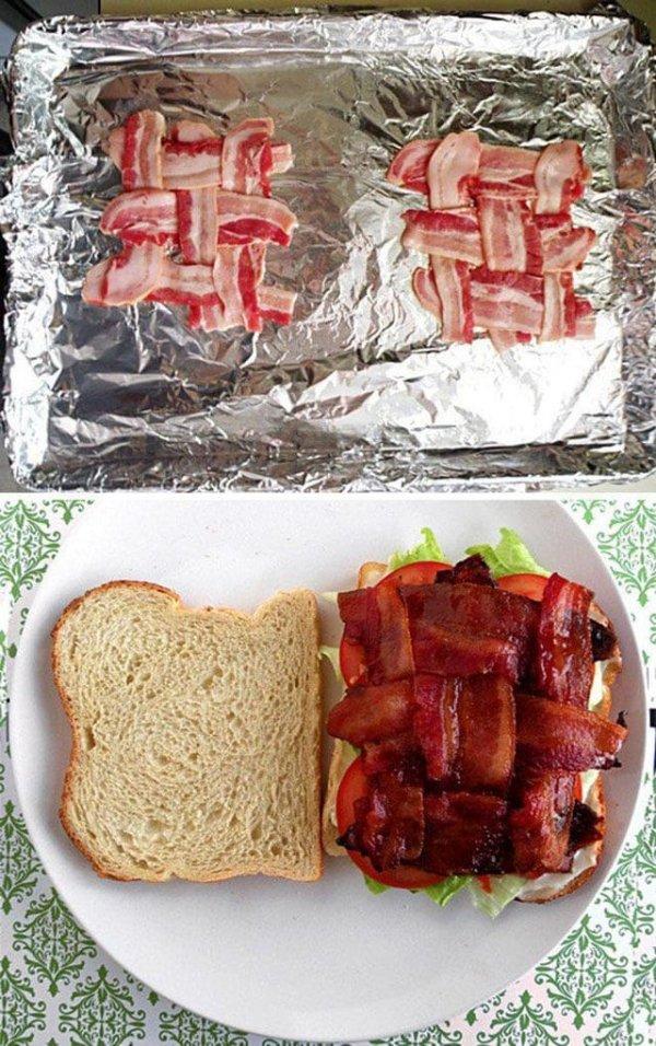 Кусочки бекона вечно выпадают из бутерброда? Попробуйте так