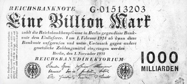 Банкнота в 1 миллиард марок, 1923 год