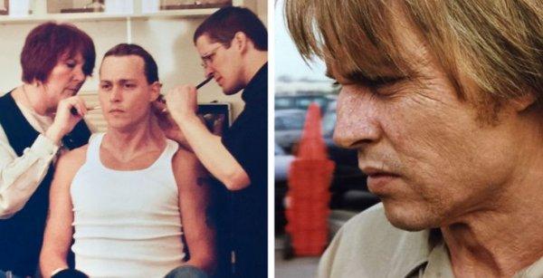 Джонни Деппу наносят старящий грим для фильма Blow