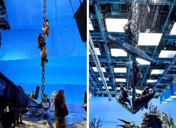На съемках 5-й части «Пиратов Карибского моря» актерам пришлось повисеть на огромной якорной цепи