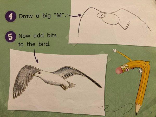 Нарисуйте большую букву «М», а потом добавьте к птичке всё остальное